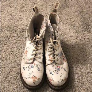 Dr Martens white floral boots